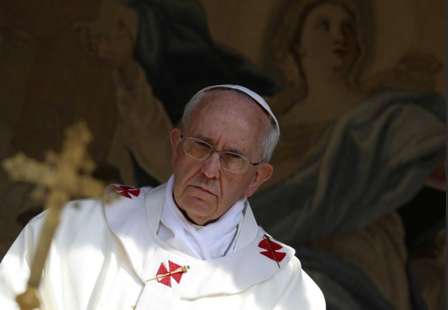 Ailing pope, reducing appearances, prays for homeless dead